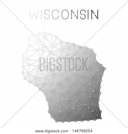 Wisconsin Polygonal Vector Map. Molecular Structure Us State Map Design. Network Connections Polygon