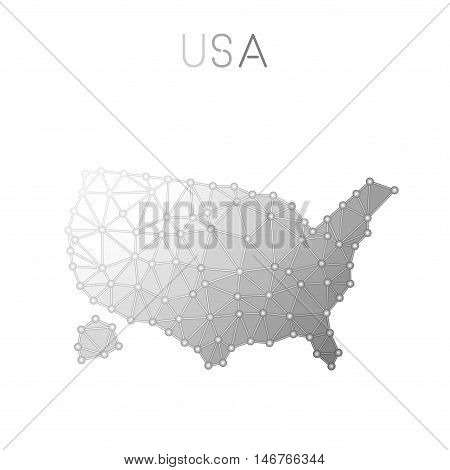 United States Polygonal Vector Map. Molecular Structure Country Map Design. Network Connections Poly