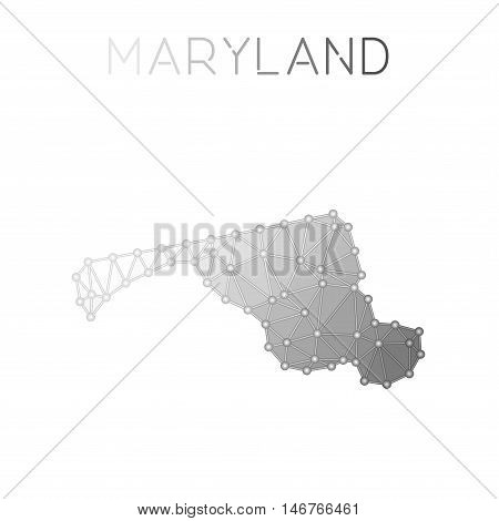 Maryland Polygonal Vector Map. Molecular Structure Us State Map Design. Network Connections Polygona