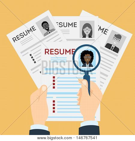 Woman resume with magnifier at the table. Cv resume concept. Finding a worker. Apply for a job. Business opportunity. Cv profile. Finding new staff.