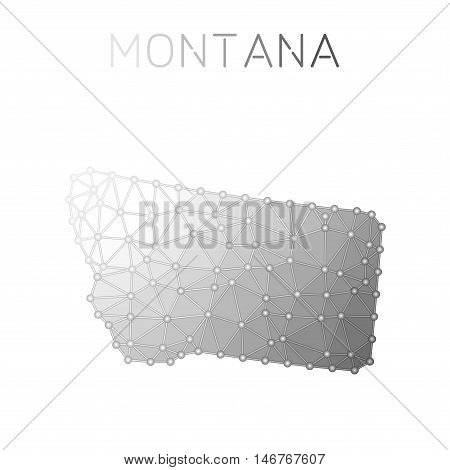 Montana Polygonal Vector Map. Molecular Structure Us State Map Design. Network Connections Polygonal