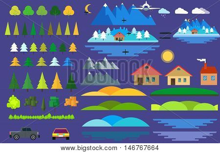 Landscape constructor icons set. Buildings houses, trees and architecture signs for map, game, texture, mountains, river, sun.Tree vector, road elements, city elements