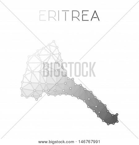 Eritrea Polygonal Vector Map. Molecular Structure Country Map Design. Network Connections Polygonal