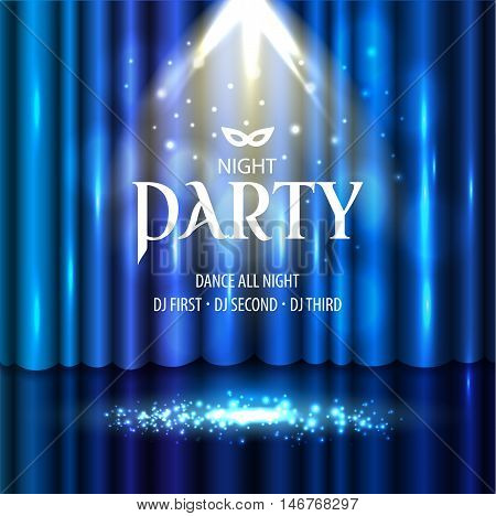 Theatrical Background With A Blue Curtain And A Scene. Light On A Floor. Vector Illustration.