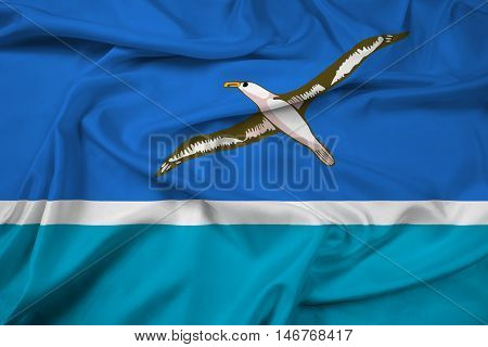 Waving Flag of Midway Atoll (unofficial), with beautiful satin background. 3D illustration