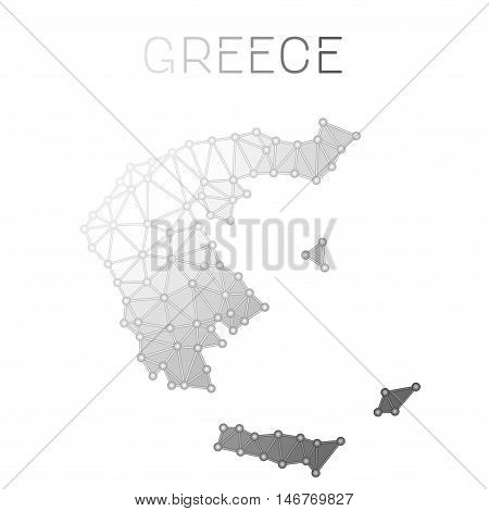 Greece Polygonal Vector Map. Molecular Structure Country Map Design. Network Connections Polygonal G