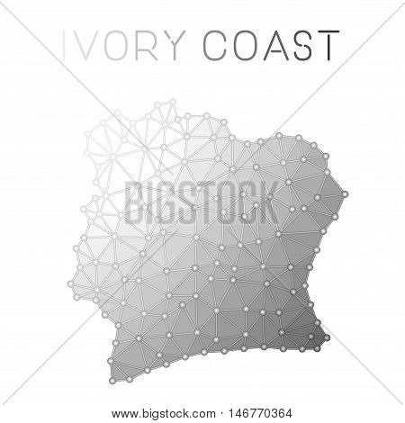 Cote D'ivoire Polygonal Vector Map. Molecular Structure Country Map Design. Network Connections Poly