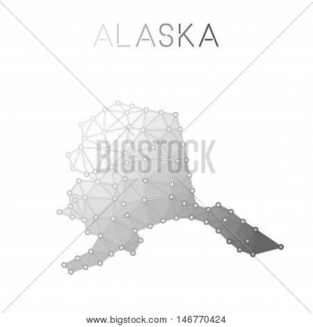 Alaska Polygonal Vector Map. Molecular Structure Us State Map Design. Network Connections Polygonal