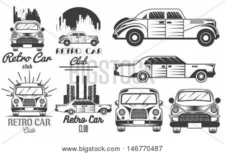 Vector monochrome set of retro car club logos, banners, badges, labels or emblems and templates. Isolated illustration in vintage style