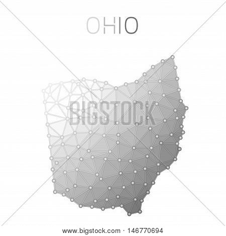 Ohio Polygonal Vector Map. Molecular Structure Us State Map Design. Network Connections Polygonal Oh