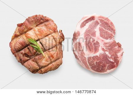 Mockup Raw Pork Chop Steak And Grilled Pork Chop Steak Set Isolated On White Background. Clipping Pa