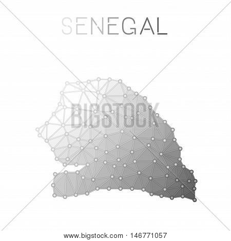 Senegal Polygonal Vector Map. Molecular Structure Country Map Design. Network Connections Polygonal