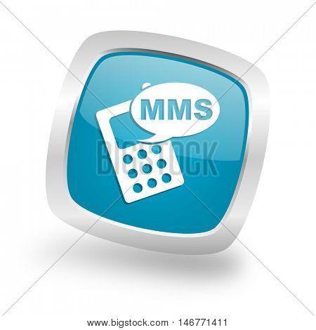 mms square glossy chrome silver metallic web icon