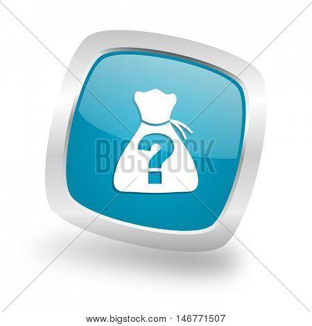 riddle square glossy chrome silver metallic web icon