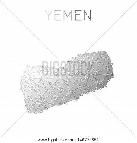 Yemen Polygonal Vector Map. Molecular Structure Country Map Design. Network Connections Polygonal Ye