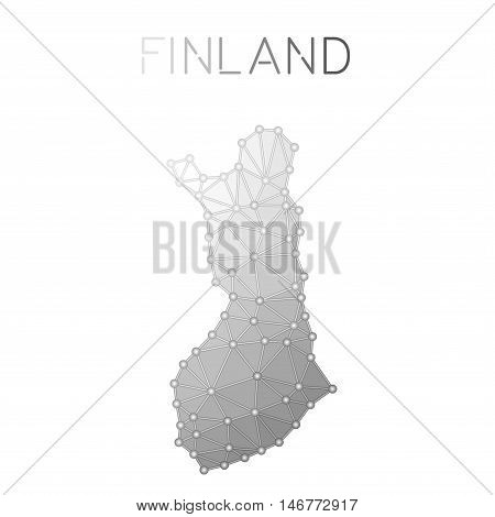 Finland Polygonal Vector Map. Molecular Structure Country Map Design. Network Connections Polygonal