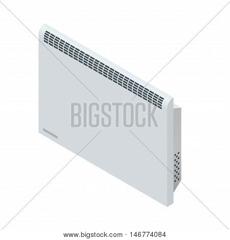 Isometric white Convector Heater. Home Heating appliances icons. Household appliances