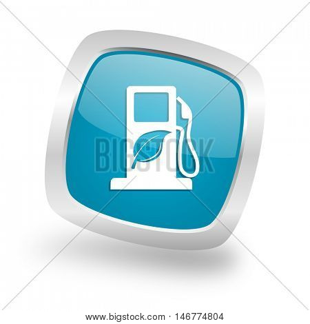 biofuel square glossy chrome silver metallic web icon