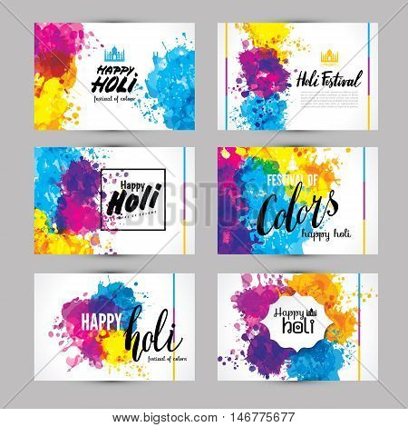 Calligraphic Header And Banner Set Happy Holi Beautiful Indian Festival Colorful Collection Design.