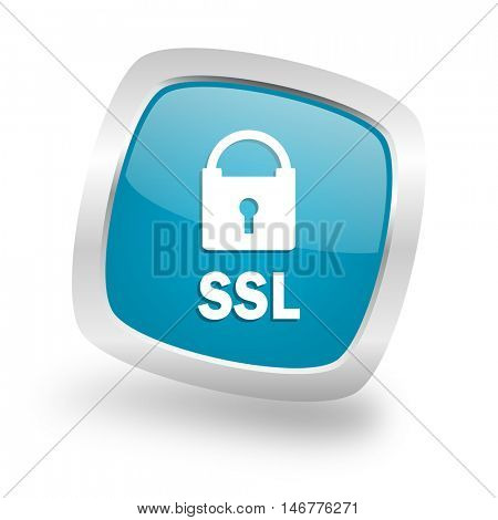 ssl square glossy chrome silver metallic web icon