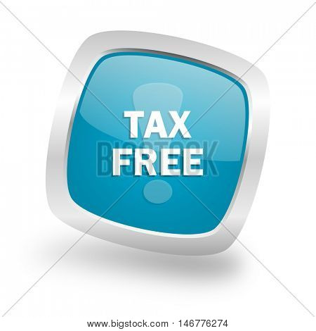 tax free square glossy chrome silver metallic web icon