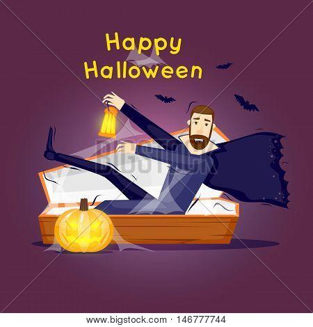 Happy halloween poster, banner, fly-er. Pumpkin. Halloween party. Character. Flat design vector illustration.
