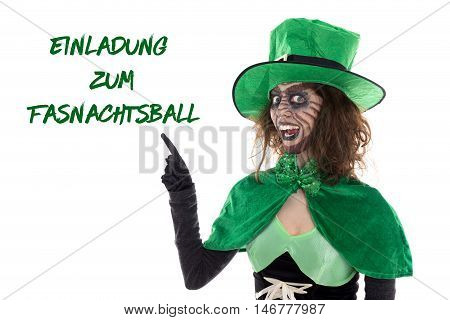 Funny Green Goblin Showing On German Text For A Invitation To Carnival