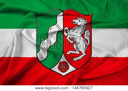 Waving Flag Of North Rhine-westphalia With Coat Of Arms, Germany