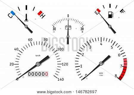 Dashboard: temperature fuel accumulator charge gauge speedometer tachometer. Vector illustration isolated on white background