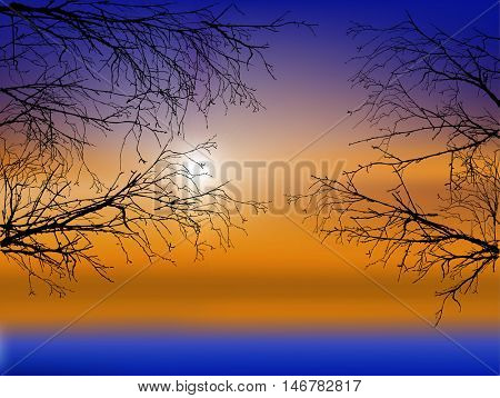 illustration with winter bare trees branches on sunset background