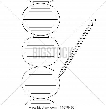 Gene therapy concept. Vector illustration of DNA helix erased and drawn by pencil in black outline on white background