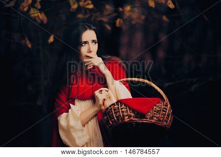 Sacred Little Red Riding Hood Hiding in the Forest