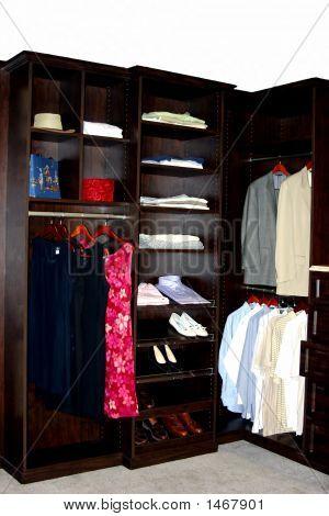 Display Of Wooden Upscale Closet Organizer