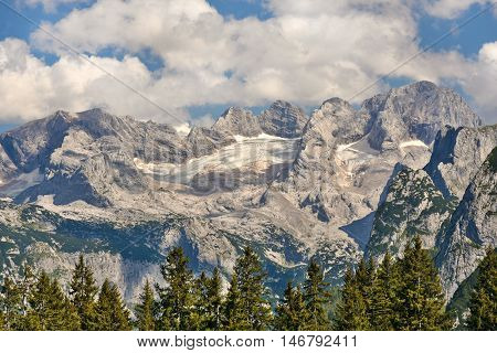 Dachstein massif from the north-west with Gosau glacier