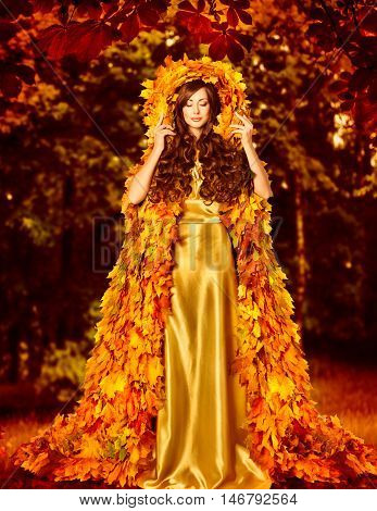 Autumn Fashion Woman Fall Leaves Dress Girl Standing Outdoor in Leaf Coat