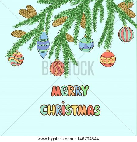 Beautiful Christmas background with Christmas Balls Hanging on a Christmas tree branch.