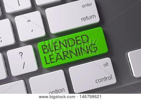 Blended Learning Concept: Slim Aluminum Keyboard with Blended Learning, Selected Focus on Green Enter Key. 3D Render.