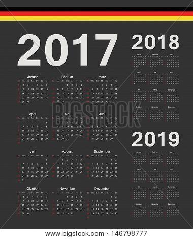 Set Of German 2017, 2018, 2019 Year Vector Calendars