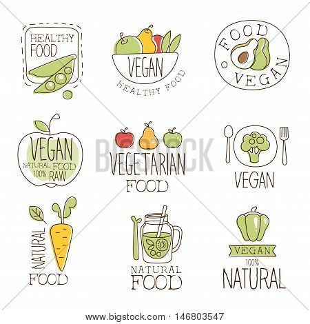 Vegan Raw And Healthy Food Promo Labels Collection. Vegetarian Food Of Premium Quality Advertisement Sign Set. Light Color Flat Cute Illustration In Simplified Outlined Vector Design