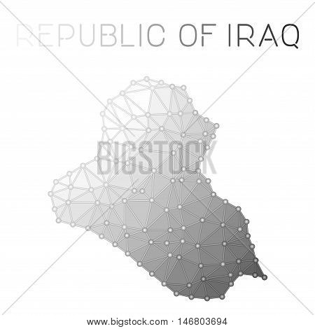 Iraq Polygonal Vector Map. Molecular Structure Country Map Design. Network Connections Polygonal Ira