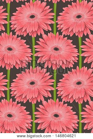 Beautiful seamless background with pink gerbera flower with a stem. Hand-drawn with effect of drawing in watercolor