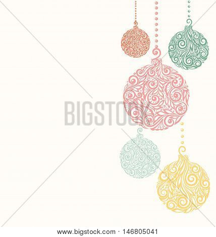 beautiful Christmas background with Christmas balls Hanging . Great for greeting cards