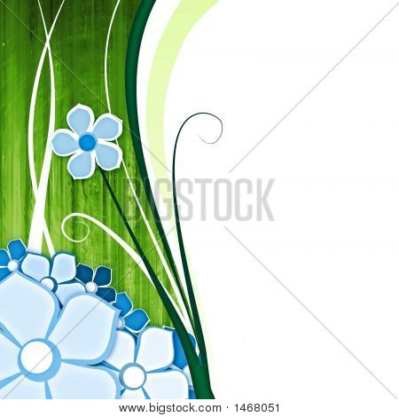 abstract background with flowers on green with space for text poster