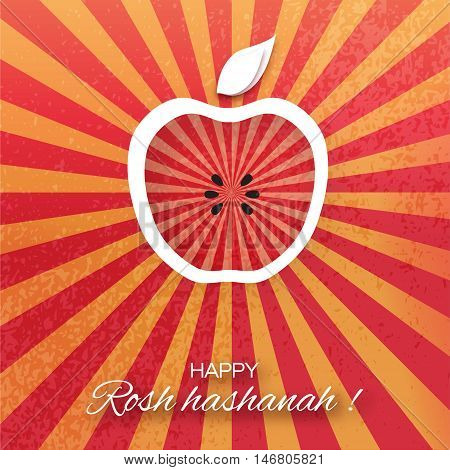 Rosh Hashanah holiday. Origami Greeting card Jewish New Year. Red background with apple. Vector design illustration