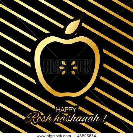 Rosh Hashanah holiday. Origami Gold Greeting card Jewish New Year. Stripes background with golden foil apple. Vector design illustration