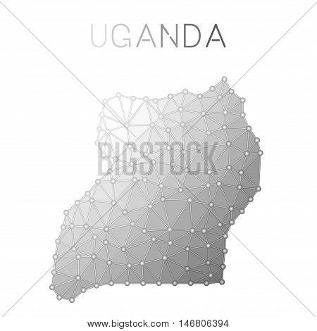 Uganda Polygonal Vector Map. Molecular Structure Country Map Design. Network Connections Polygonal U