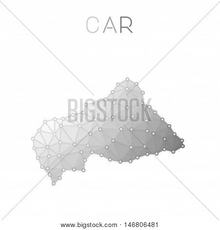 Central African Republic Polygonal Vector Map. Molecular Structure Country Map Design. Network Conne