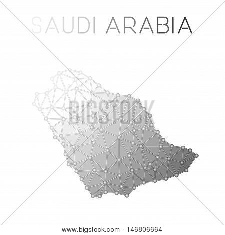 Saudi Arabia Polygonal Vector Map. Molecular Structure Country Map Design. Network Connections Polyg