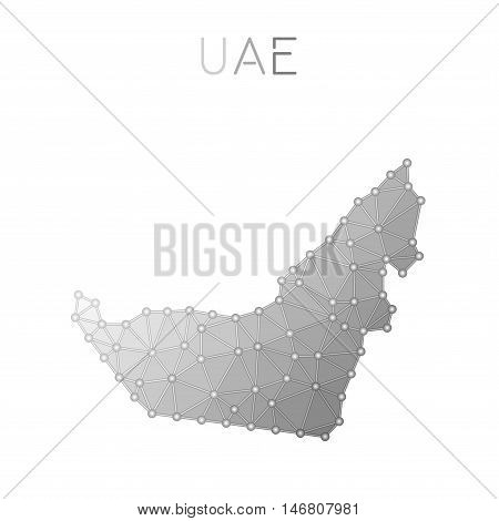 United Arab Emirates Polygonal Vector Map. Molecular Structure Country Map Design. Network Connectio
