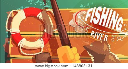 Fishing On The River With Cat View From Above Illustration Cool Colorful Vector Illustration In Stylized Geometric Cartoon Design